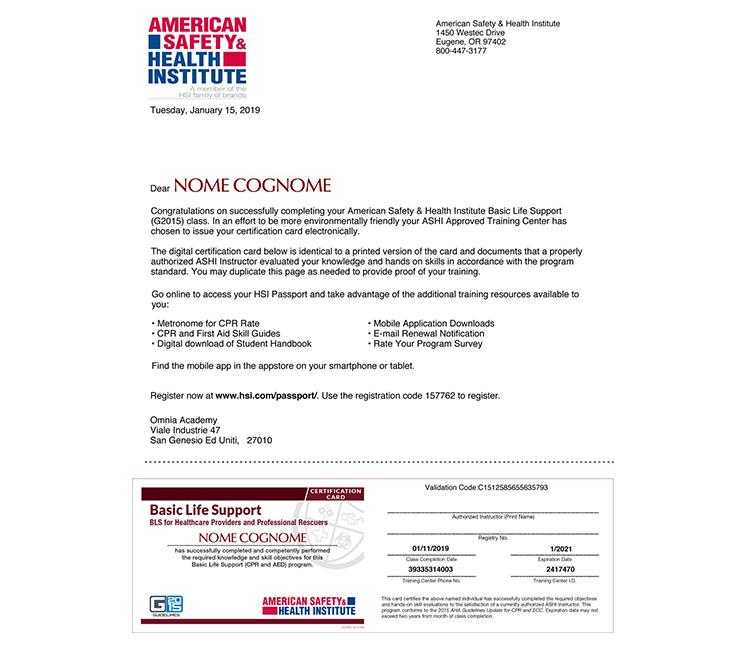 Certificato BLSD PBLSD sanitari