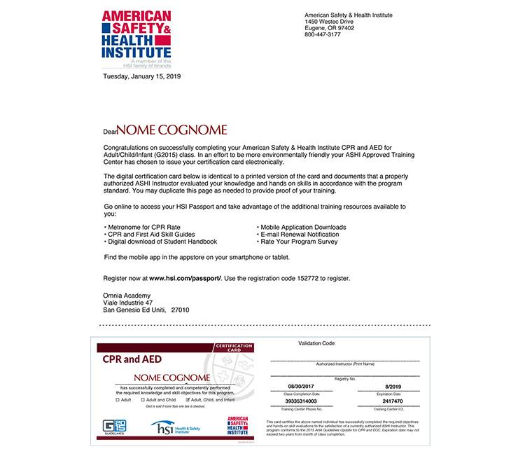Certificato BLSD laico