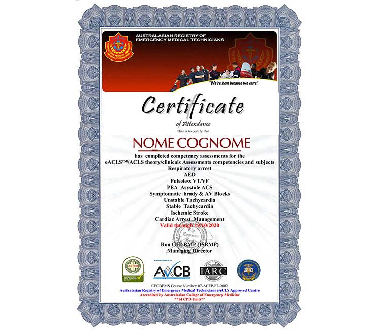 certificato ACLS AREMT