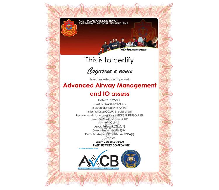 certificato vie aeree