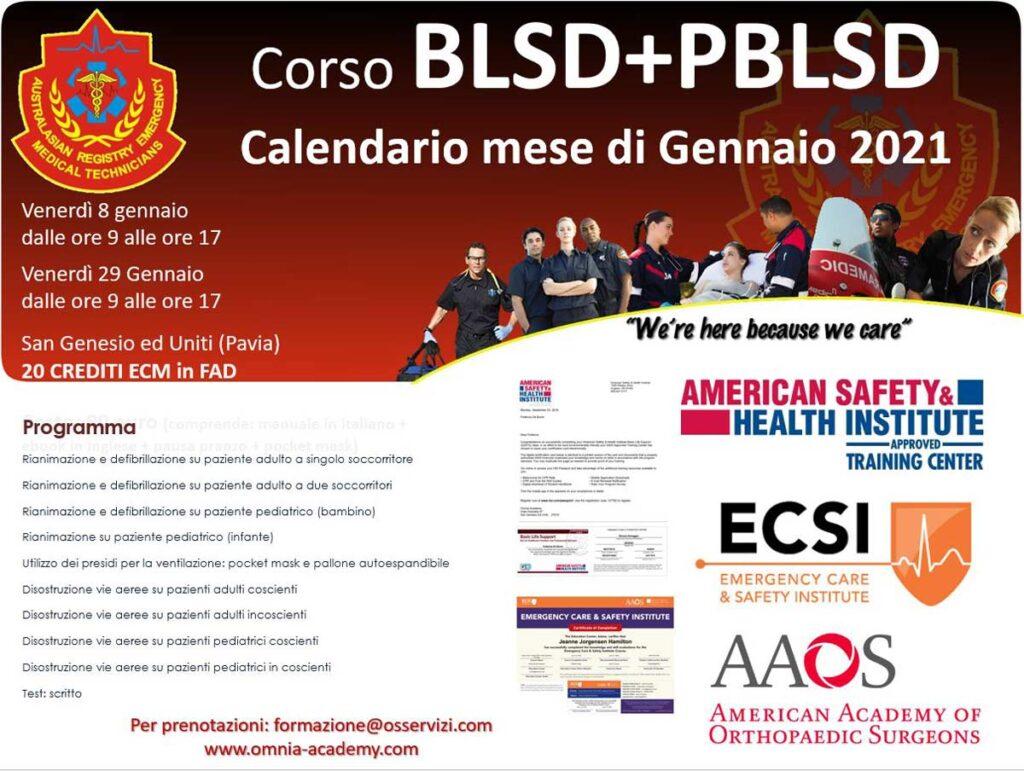 Calendario gennaio bls Corsi